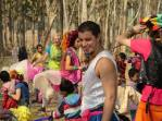 Circus performer entertaining at Thai refugee camp