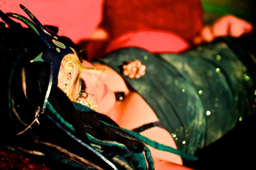 Mermaid costume stilter for Gabriola Theater Festival