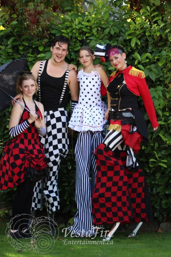 Roving performers on stilts for special events on Vancouver Island