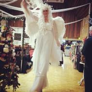 Performer on stilts Christmas corporate party angel costume in Victoria