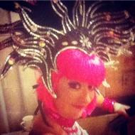 Stiltwalker in disco costume at event in Victoria BC