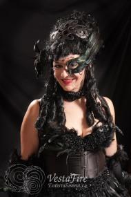 black feather burlesque costume
