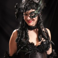 black feather burlesque costume