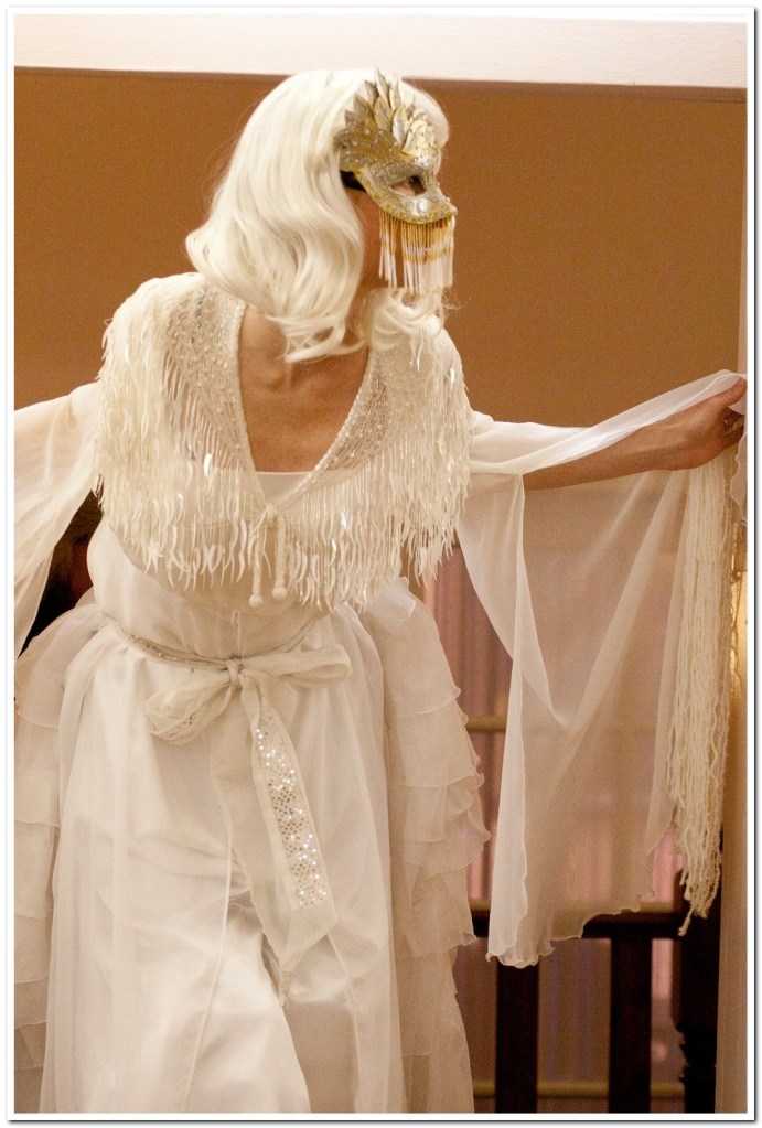 White winter spirit stilt costume