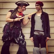 Hilarious circus stiltwalkers at fun nautical festival in Nanaimo