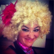 Circus entertainer in fun costume at Victoria party