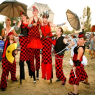 Circus troupe on stilts at festival in Vancouver