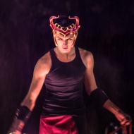 Circus entertainer spooky Halloween costume in Vancouver