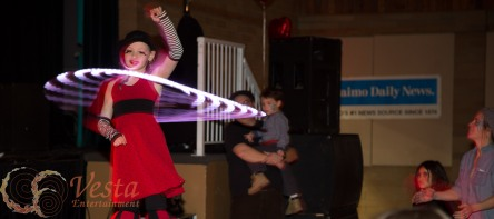 French Artist Stilter performs with LED hoop