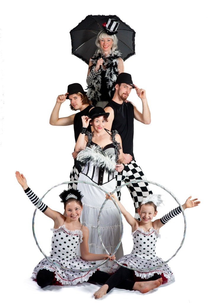 Circus Troupe promo picture with Stilts and hoops