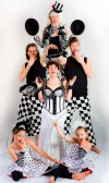 Black and White Checkers promo picture for Vesta Entertainment Circus Troupe