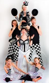 Black and White Checkers promo picture for Vesta Entertainment Circus Troupe