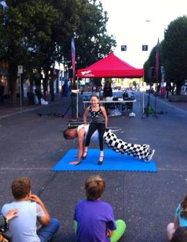 Circus performers at street circus event