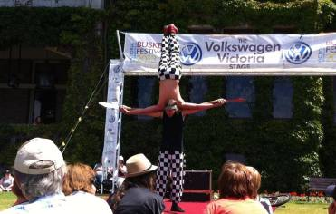 Amazing circus acrobats juggle at Victoria Busking Festival