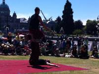 Circus street show with jugglers in Victoria BC