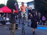 Unicyclist in interactive street show in Victoria