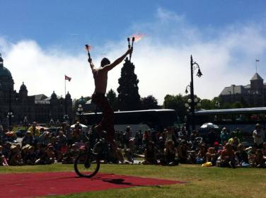 Fire performer in circus show in Victoria BC