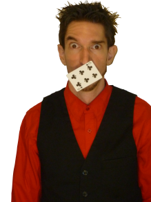Comic magician at holiday party in Vancouver