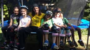 Teaching Stiltwalking to kids in Nanaimo